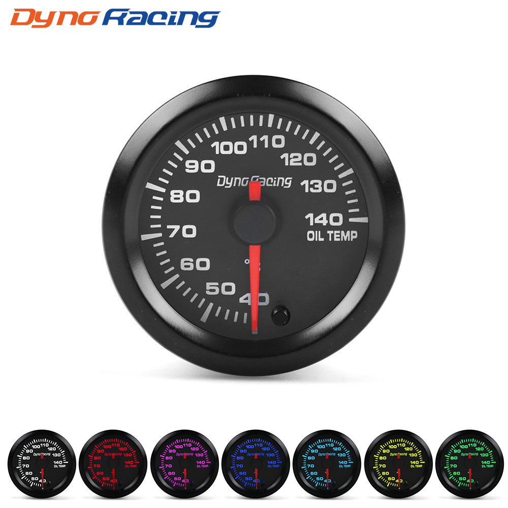 Dynoracing 2 52mm 7 Colors LED Car Oil Temp Gauge 40-140 Celsius Oil Temperature Meter High Speed Motor With Sensor BX101490Dynoracing 2 52mm 7 Colors LED Car Oil Temp Gauge 40-140 Celsius Oil Temperature Meter High Speed Motor With Sensor BX101490