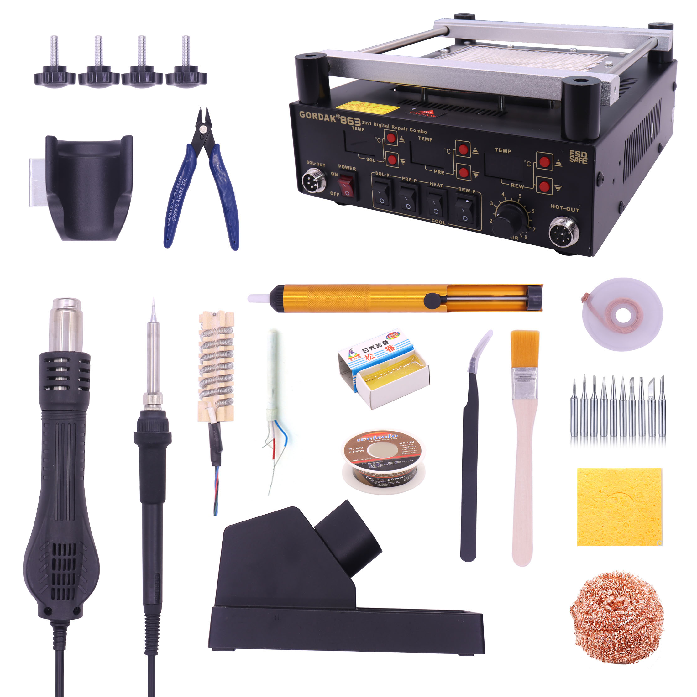 Gordak 863 853 Hot Air Heat Gun BGA Rework Solder Station + Electric Soldering Iron + IR Infrared Preheating Station With