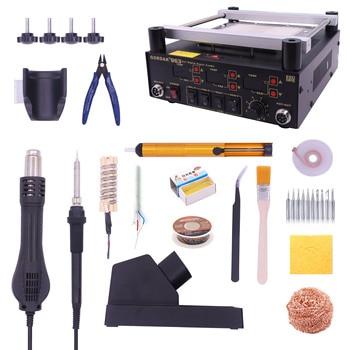 Gordak 863 853 Hot Air Heat Gun BGA Rework Solder Station + Electric Soldering iron + IR Infrared Preheating Station With