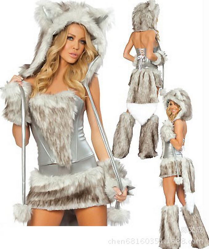 5 pcs sexy christmas erotic costume cat woman for ladies fur temptation new sexy halloween costumes lace back brown gray wl78
