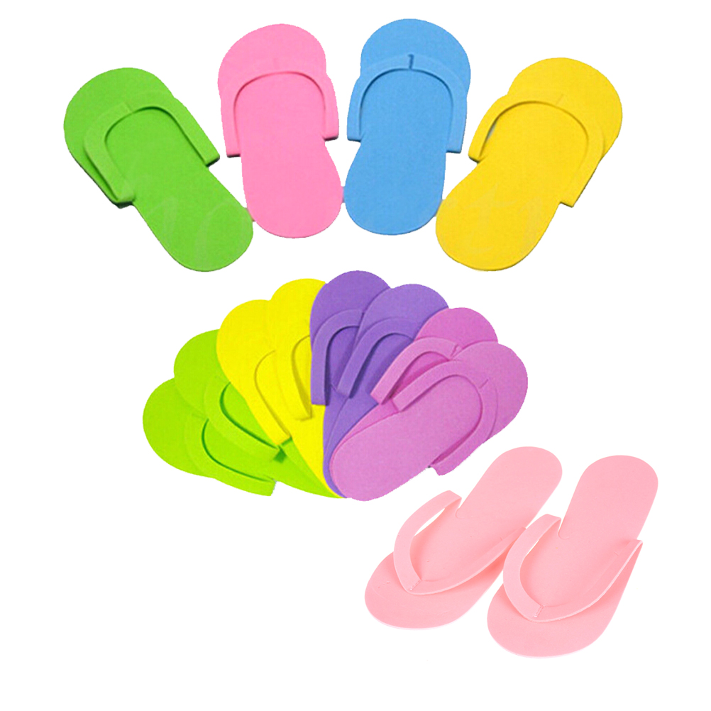 adee24bcfe6a 12Pairs Disposable Foam Slippers High Quality Spa Pedicure Flip Flop  Assorted Colors For Salon Random Color
