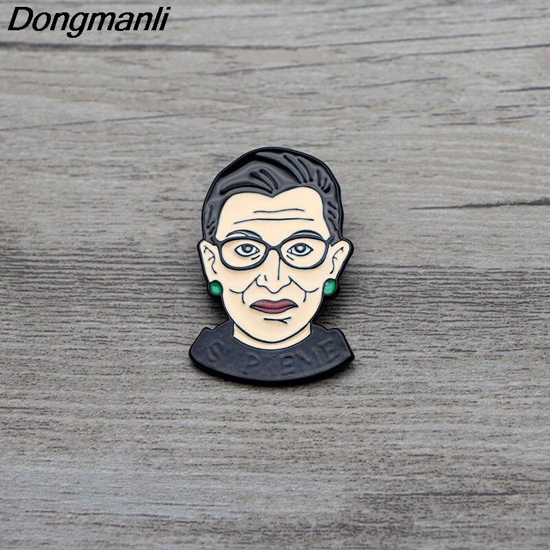 L2992 Ruth Bader Ginsburg Feminism Enamel Pin Brooches Cartoon Creative Metal Brooch Pins Denim Hat Badge Jewelry