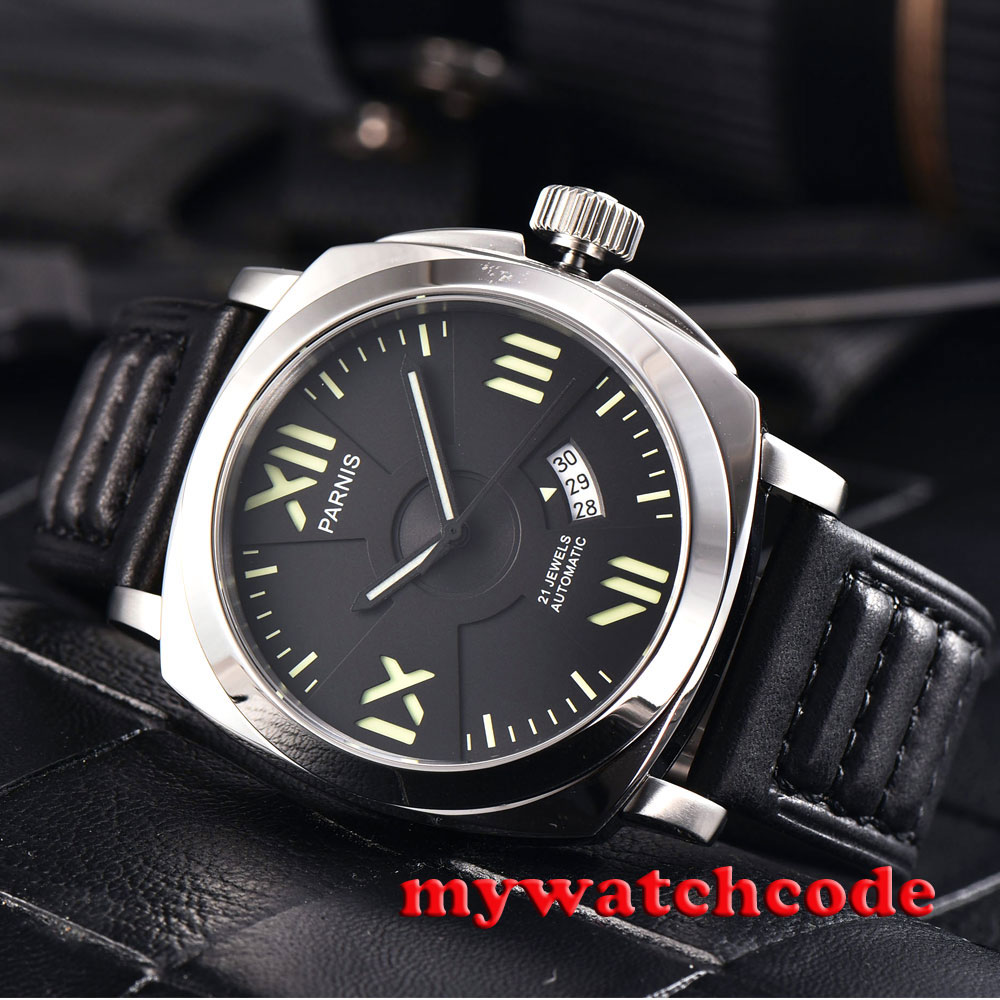 44mm parnis black dial date Sapphire Glass miyota automatic military mens Watch 42mm parnis withe dial sapphire glass miyota 9100 automatic mens watch 666b