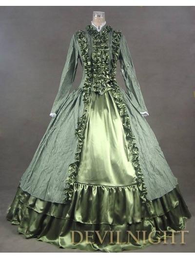Gothique Longues Color Victorienne Manches Dress Ruches Élégant Vert wxqAq