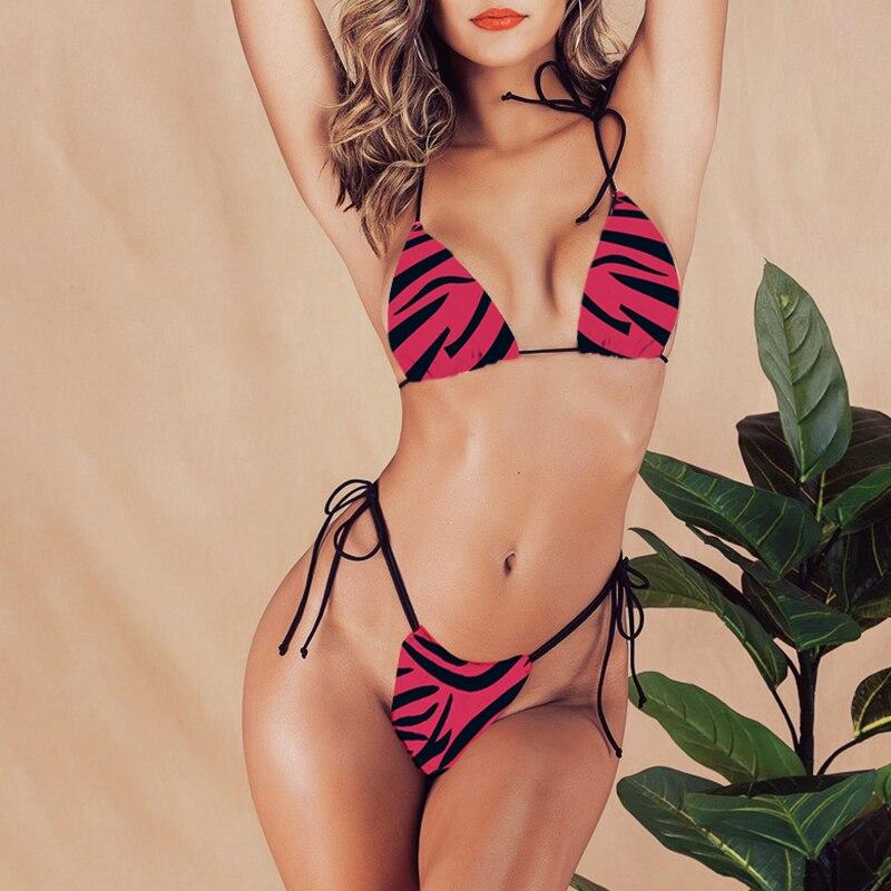 HTB1W3HMegaH3KVjSZFjq6AFWpXaW Brazilian bikini thong Micro print bikini Neon swimwear women 2019 bathers Push up 3 piece swimsuit female string bathing suit