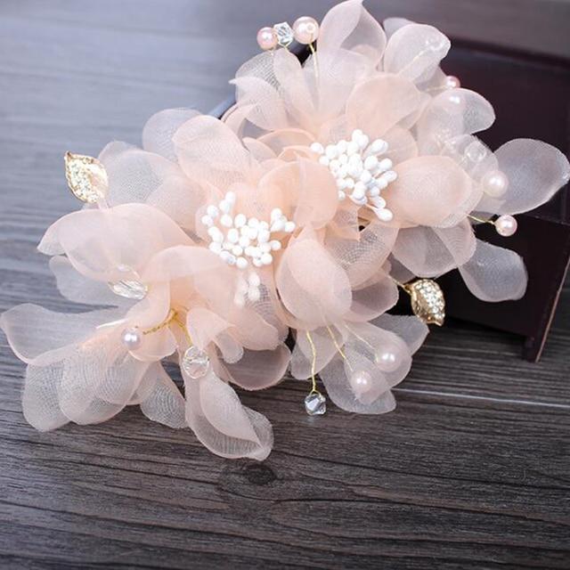 Festa de casamento romântico branco rosa voile de seda flor pino de cabelo com contas de noiva handmade cabelo nupcial jóias acessórios de cabelo