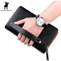 Williampolo Hot Sale Fashion Cow Leather Wallet luxury Business Zipper Long section Mens Clutch Big Wallet phone Handbag PL170
