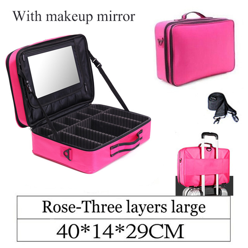 Professional Makeup Bag With Mirror Organizer Women Travel Cosmetic Cases Large Capacity Cosmetics Bag Capacity Storage Box