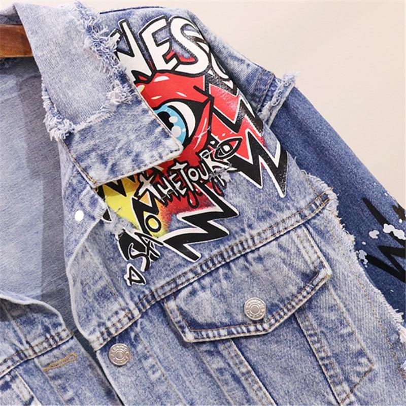 Longues Hip Printemps Graffiti Automne Hop À Jeans 2019 Lâche Streetwear Femmes Denim Manches Manteau De Imprimer Mode Blue Veste POn08wk