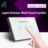 HUANGXING, AU/US Standard Crystal glass panel touch Screen dimmer, Brightness Adjustable dimming wall light switch,Free shipping