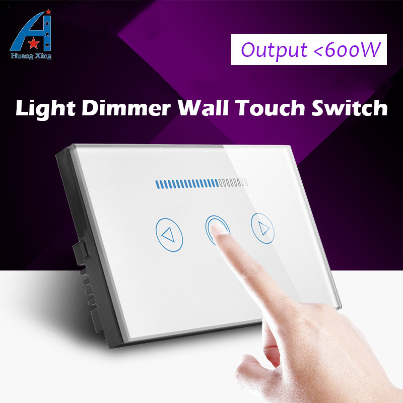 HUANGXING, AU/US Standard Crystal glass panel touch Screen dimmer, Brightness Adjustable dimming wall light switch,Free shipping free shipping smart home us au standard wall light touch switch ac220v ac110v 1gang 1way white crystal glass panel