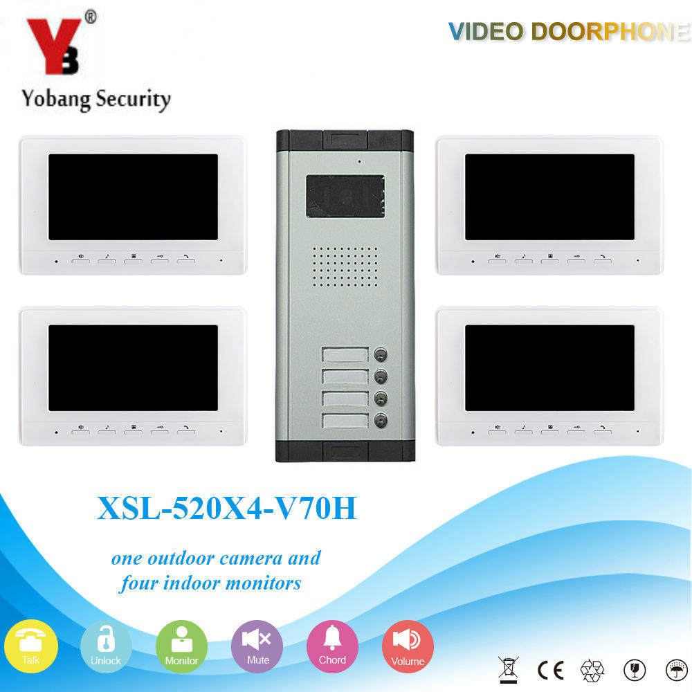 YobangSecurity Video Door Intercom 7 Inch Monitor Wired Video Doorbell Door Phone Intercom 1 Camera 4 Monitor System Kit 3v3 7 inch monitor water proof ip66 wired intercom video door phone