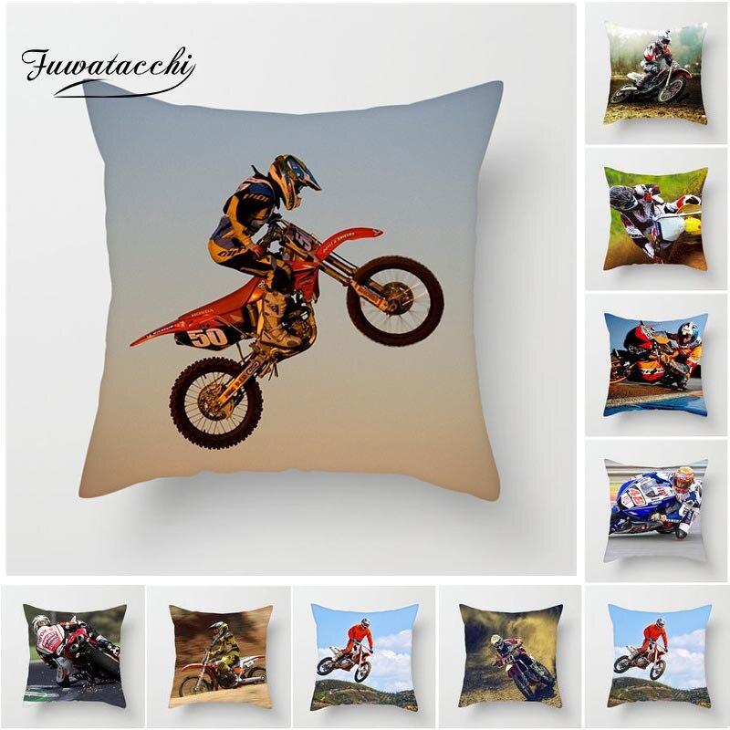 Fuwatacchi extrême vitesse housse de coussin moto Sports jeter taie d'oreiller pour la maison chaise décoration carré doux taies d'oreiller