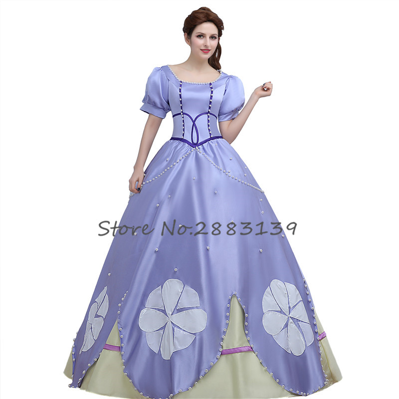 Ainiel Anime  Princess  Sofia the First Cosplay Costume Sophia Violet Evening Adult Dress for women Halloween Dress