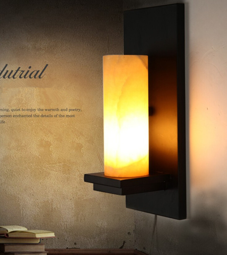 Designer Retro Industrial Wind Village Natural Marble Wall Lamp Cafe Restaurant Aisle Iron Wall Light Free Shipping loft american village industrial iron wall lamp edison bulb retro wall light bar cafe restaurant aisle lights ems free shipping