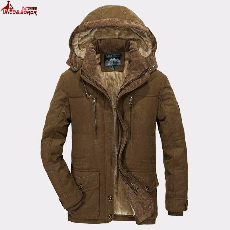 Plus Size 5XL 6XL Men`s Warm Winter Coats Thick Fleece Jackets Male Outerwear Detachable With Hooded Windbreaker Parkas Men
