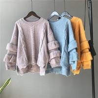 Knitwear women autumn winter 2018 new Korean women's lace sleeves college style students sweater women's knitted coat women