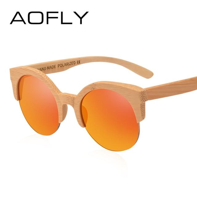 75172185ac AOFLY BRAND DESIGN Women Sun Glasses Semi-Rimless Round Sunglasses Handmade  Wooden Frame Vintage Eyewear UV400 AF616