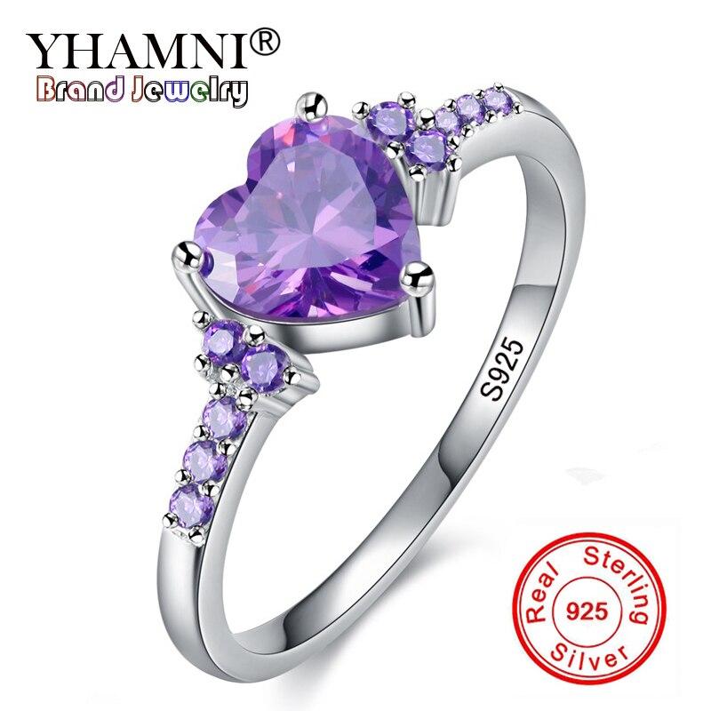 ¡Perder dinero 99% DE DESCUENTO! Anillos de plata 925 sólidos reales de la joyería del zirconio de la boda de la manera anillos de cristal púrpura del corazón Natural para regalo de las mujeres
