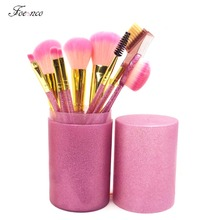 9pcs/set Makeup Brushes Kit Soft Synthetic Glitter Handle Oval Brushes Set for Women Eyeshadow Facial Make Up Brush with Holder