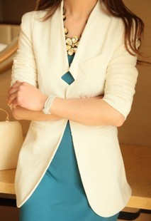 Elegant medium-long slim long-sleeve fashion women's collarless blazer suit outerwear