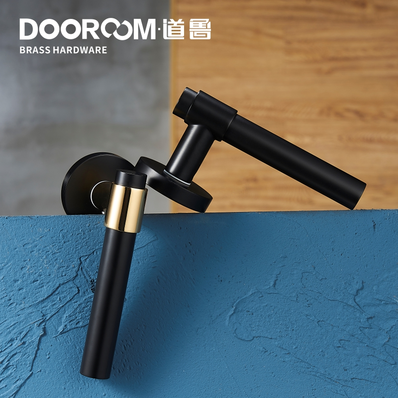 Dooroom laiton levier lumière luxe noir or moderne mode intérieur chambre salle de bains en bois massif porte serrure poignée fendue bouton