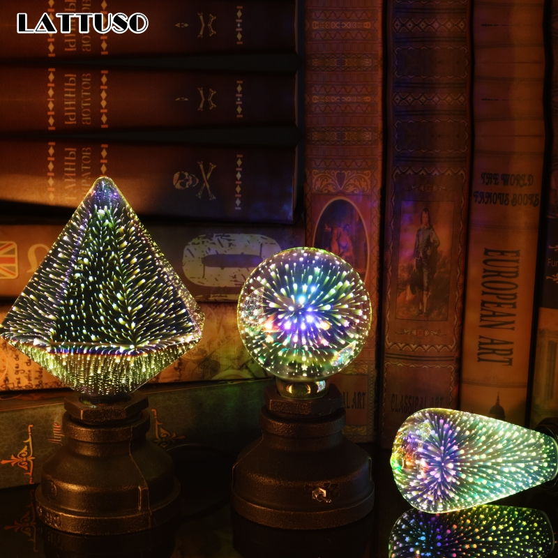 LATTUSO LED Light Edison Bulb 3D Decoration Bulb 220V A60 ST64 G95 G80 G125 E27 Holiday Lights Novelty Christmas Lamp Lamparas