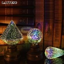 цены LATTUSO LED Light Edison Bulb 3D Decoration Bulb 220V A60 ST64 G95 G80 G125 E27 Holiday Lights Novelty Christmas Lamp Lamparas