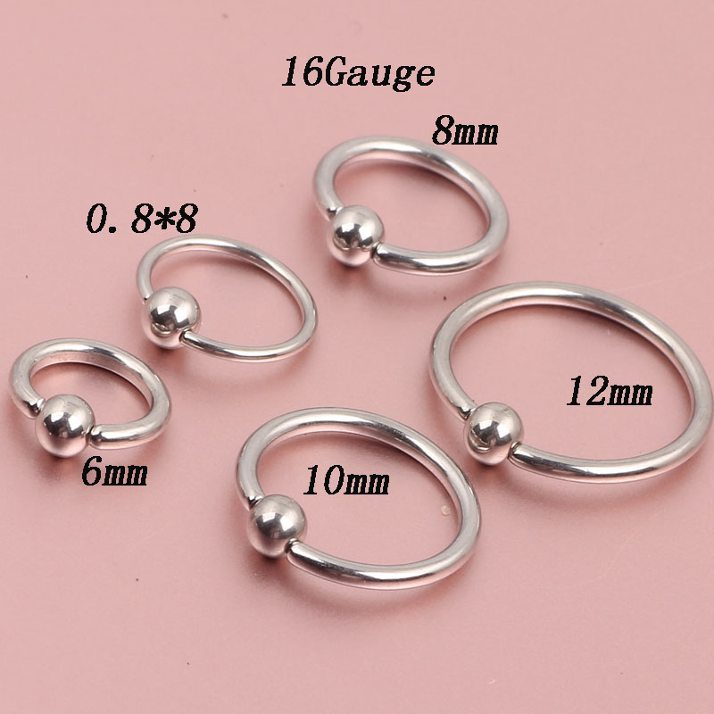 Tiancifbyjs 2pcs Nose Rings Steel Ear Clip Hoop 18 Gauge 16 Captive Tragus Circle Earring Piercing Eyebrow Lip In Body Jewelry From