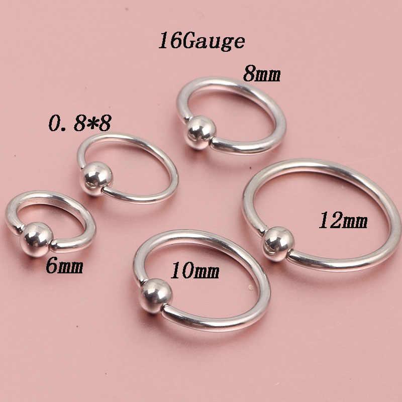 Tiancifbyjs 2pcs Nose Rings Steel Ear Clip Nose Hoop 18 Gauge 16