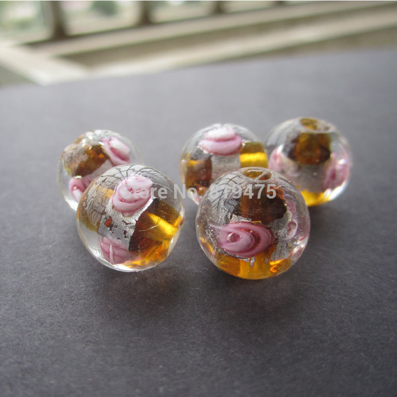20Pieces/Lot 12mm Lampwork Glass Beads Flower With Silver Foil Brown Color for jewelry making
