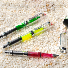 купить High Quality Plastic Transparent Fountain Pen F/EF Nib 0.5mm Hooded Nib 0.38mm Colorful Ink Pens School Office Supplies дешево