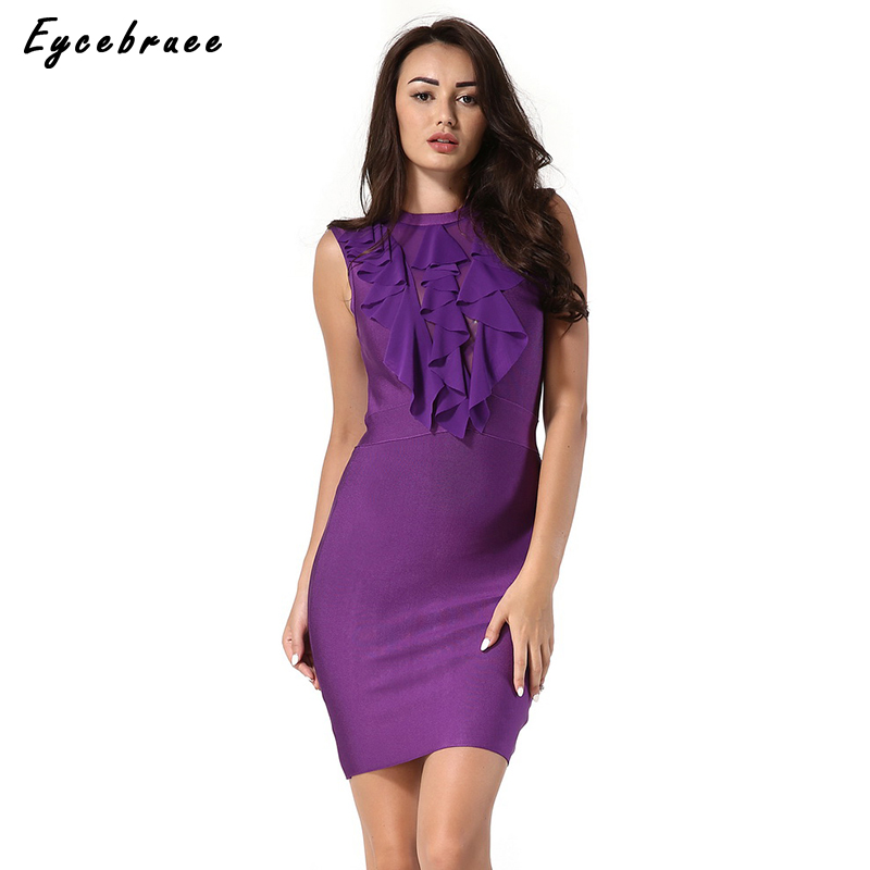 Eycebruee 2017 Women Summer Bandage Dress Celebrity Evening Party Dresses Sexy Ruffles Purple Yellow White Mini Dresses Vestidos