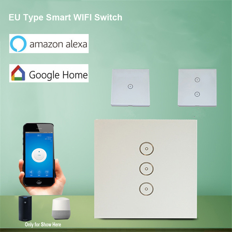 EU Standard 10A/Gang Smart WIFI Switch 1/2/3 Gang Touch Panel, Wireless Remote Wifi Light Switch, Works With Alexa Google Home 2017 smart home crystal glass panel wall switch wireless remote light switch us 1 gang wall light touch switch with controller