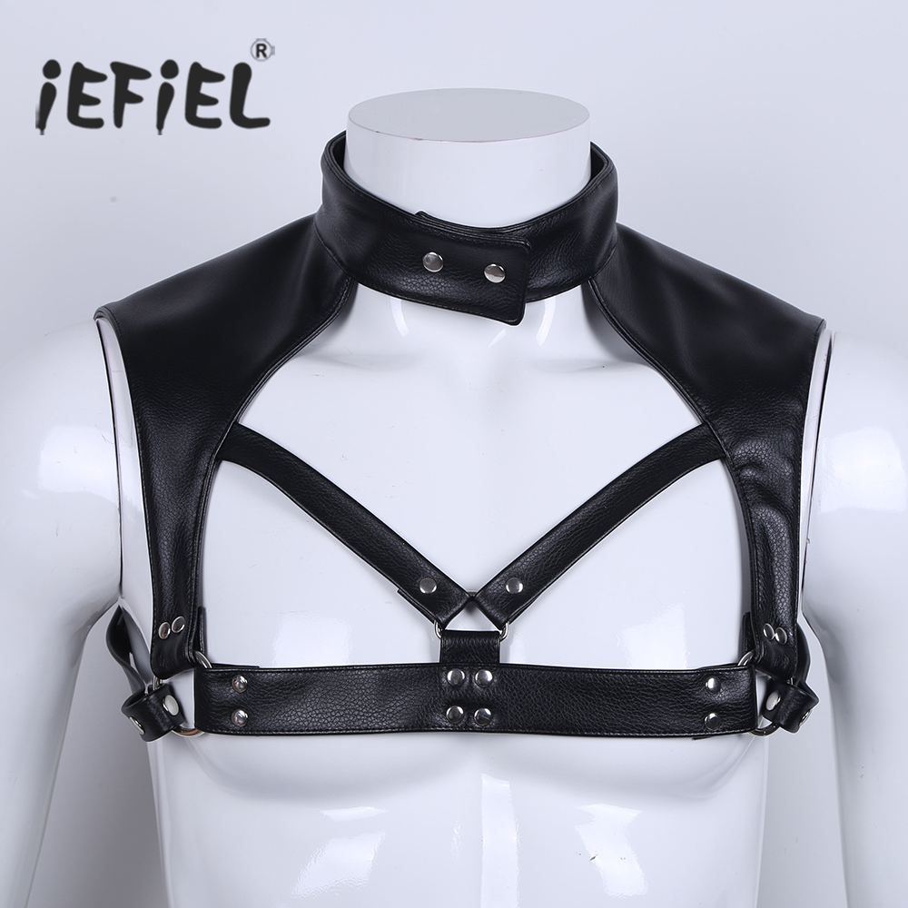 iEFiEL Men Faux Leather Adjustable Wetlook Body Chest Harness Bondage Costume with Choker Neck Press Buttons for Nightclub Party