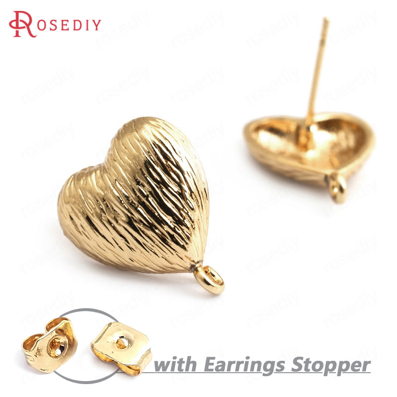 (35005)6PCS Heart 13MM 24K Gold Color Brass Wrinkled Heart Shape Stud Earrings High Quality Diy Accessories Jewelry Findings