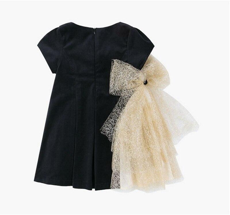 Image 2 - Платье с золотым бантом для девочек; коллекция 2019 года; детские черные бархатные платья для девочек; платье принцессы для вечеринки и свадьбы; детские летние платья-in Платья from Мать и ребенок