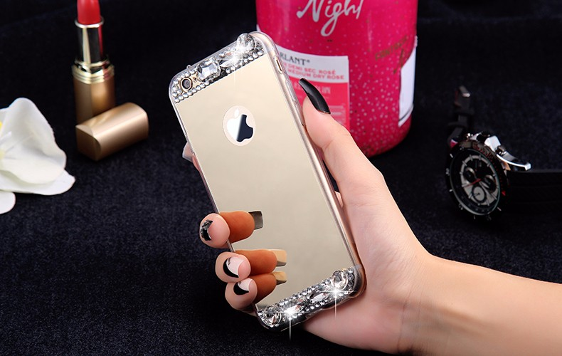 6S 7 Plus Luxury Diamond Glitter Mirror Case For Apple iPhone7 Plus 6 6s Plus 5 5S SE Dual Layer Bling TPU Slim Clear Back Cover (9)