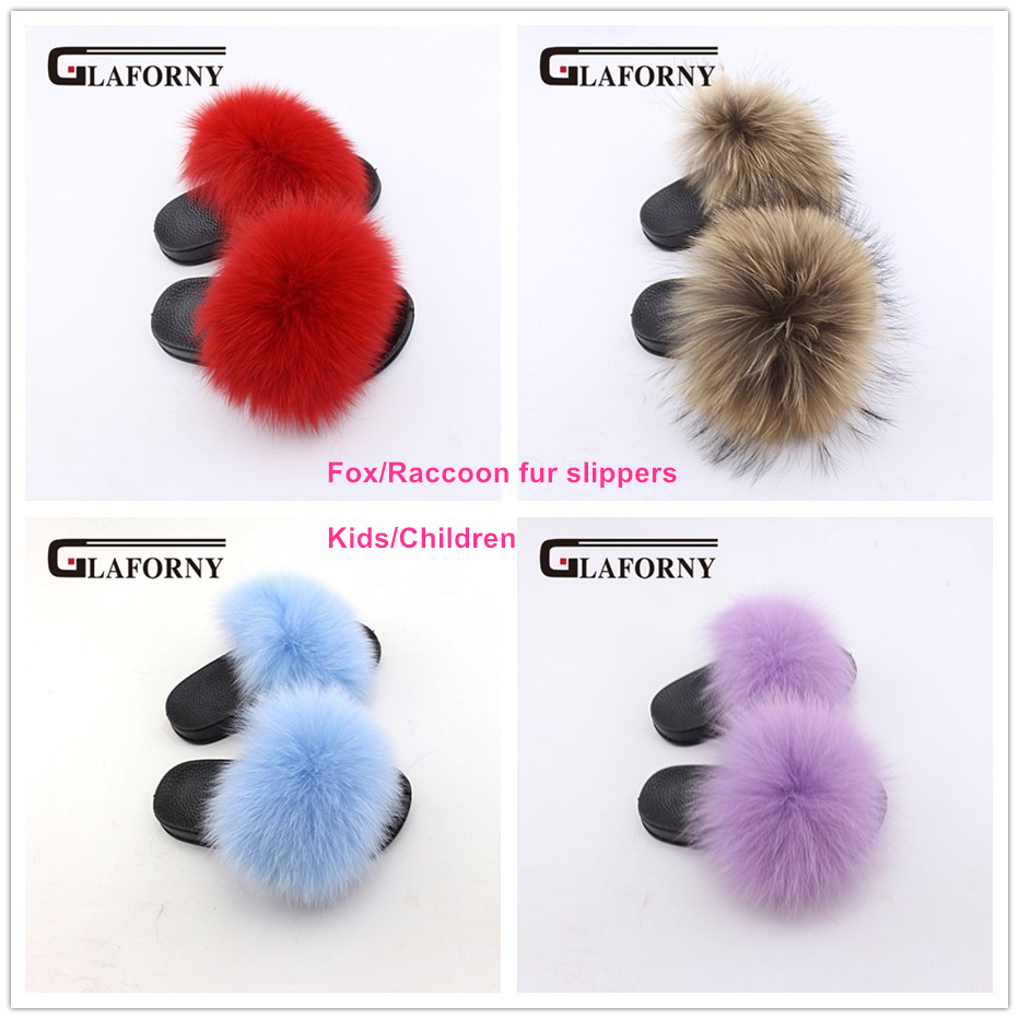 Glaforny 2018 Kids Real Fox Fur Girls Slipper Spring Summer Natural Fur Slides Children Indoor Outdoor Fashion Shoes Luxury Fox 2019 New Fashion Style Online Apparel Accessories