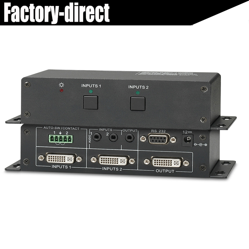 Professional DVI 2x1 Switcher box with built-in HDCP Audio & RS-232 for PC laptop projector