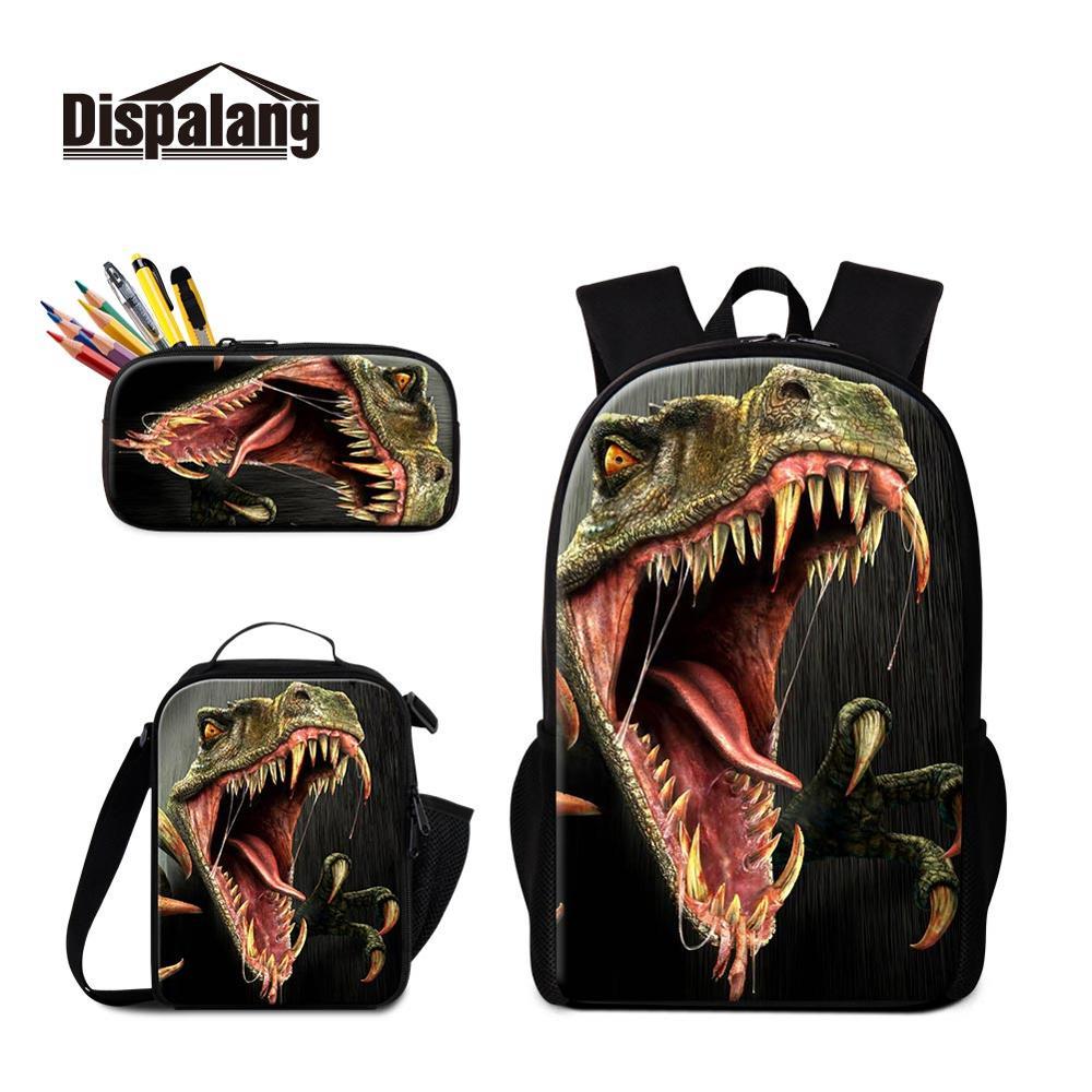 Le plus nouveau dinosaure 3 pièces dans 1 ensemble sacs à dos d'école pour les garçons déjeuner poche et porte-crayon sacs en cuir personnalisés adolescents cadeau