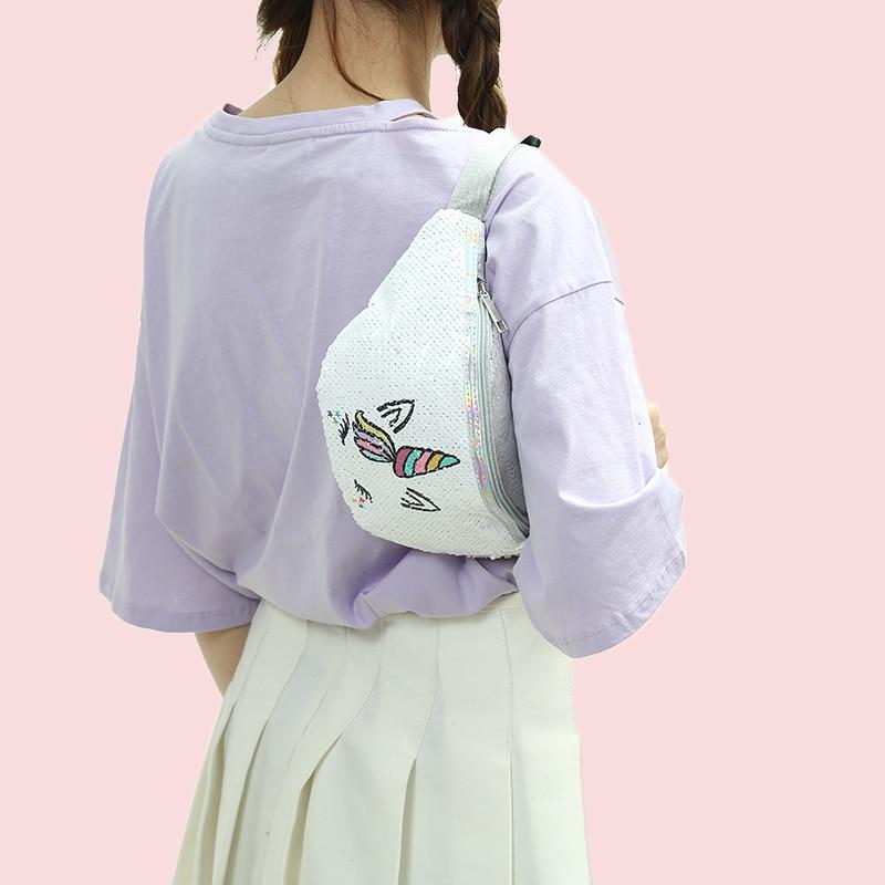 Cartoon Girls Belt Bag 2019 Sequins Glitter Women Fanny Pack Bag Unicorn Print Casual Pouch Fanny Chest Shoulder Bags