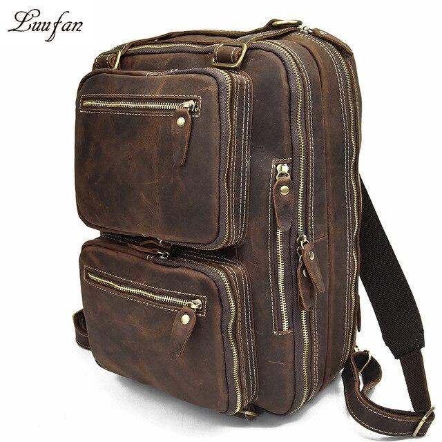 Luufan Leather Briefcase For 15 Inch Laptop Men Crazy Horse Leather Business Handbag Shoulder Bag Cowhide Working Briefcase Bag