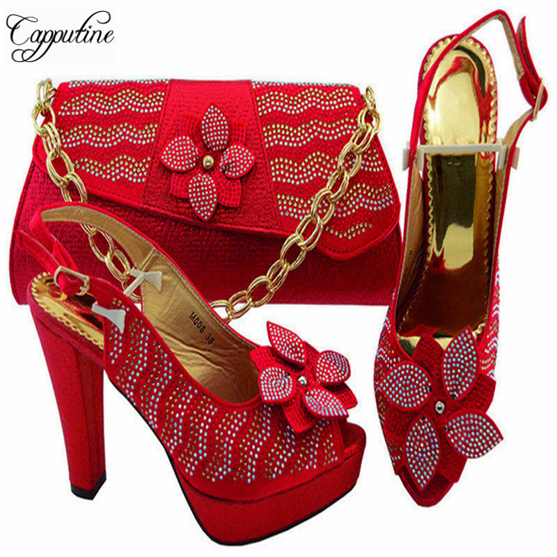 Capputine Newest African Women Pumps Shoes And Matching Bag Set Italian Design Red Shoe And Bag Set For Wedding Dress YM008 italian shoes with matching bag new design african pumps shoe heels fashion shoes and bag set to matching for party gf25