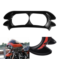 KaTur Glossy Black Dual Projector Headlamp Headlight Trim Bezel for 2015 2019 Harley Davidson Road Glide