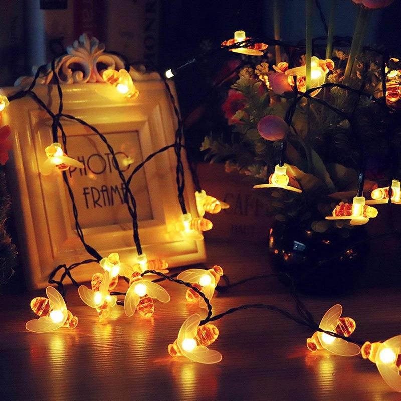 Led String Fairy Lights 50Leds 100LedsBee Outdoor Garden Fence Patio Christmas Garland Lights
