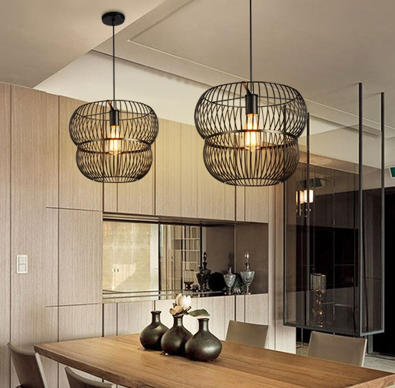 Loft Style Creative Iron Cage Vintage Pendant Light Fixtures Indoor Lighting For Dining Room Edison Hanging Lamp Lamparas loft style creative iron cage pendant light fixtures vintage industrial lighting for dining room edison hanging lamp lamparas