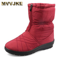 MVVJKE Waterproof Flexible Cube Woman Boots High Quality Cozy Warm Fur Inside Snow Boots Winter Shoes