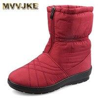 MVVJKE Waterproof Flexible Cube Woman Boots High Quality Cozy Warm Fur Inside Snow Boots Winter Shoes