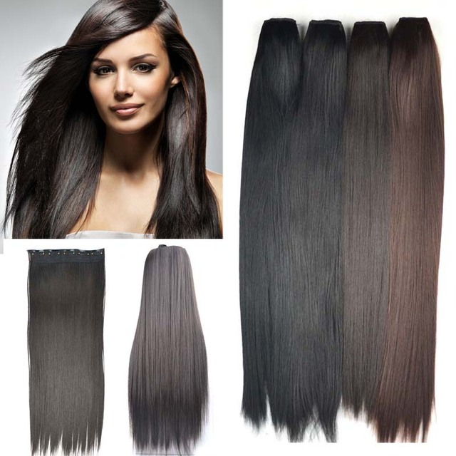 One Piece 5 Clips Clip In Hair Extension 24inch Long Stragiht False